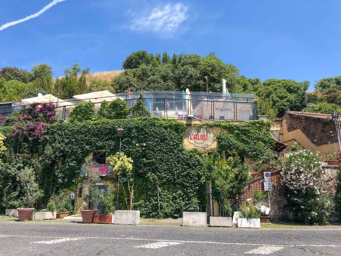 L'Alibi is one of a row of clubs built into Monte Testaccio, Rome