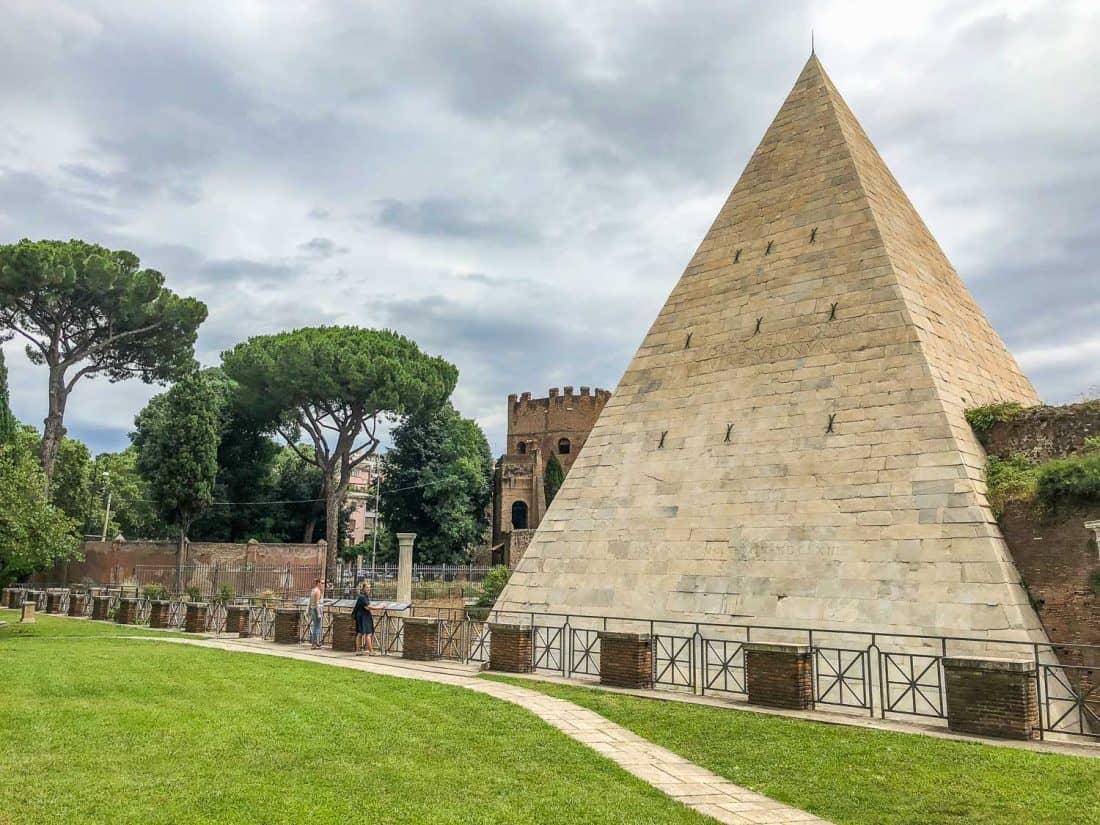 Testaccio Pyramid of Cestius in Rome, Italy from the non-Catholic cemetery