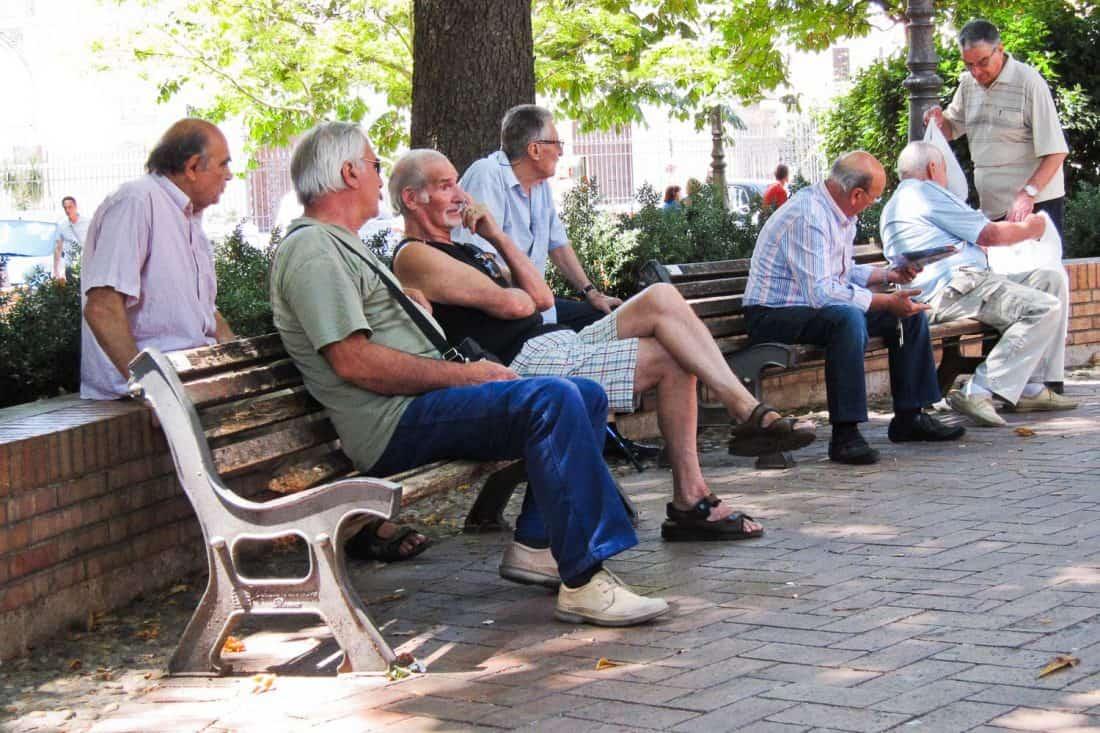 Local men in Testaccio piazza, Rome