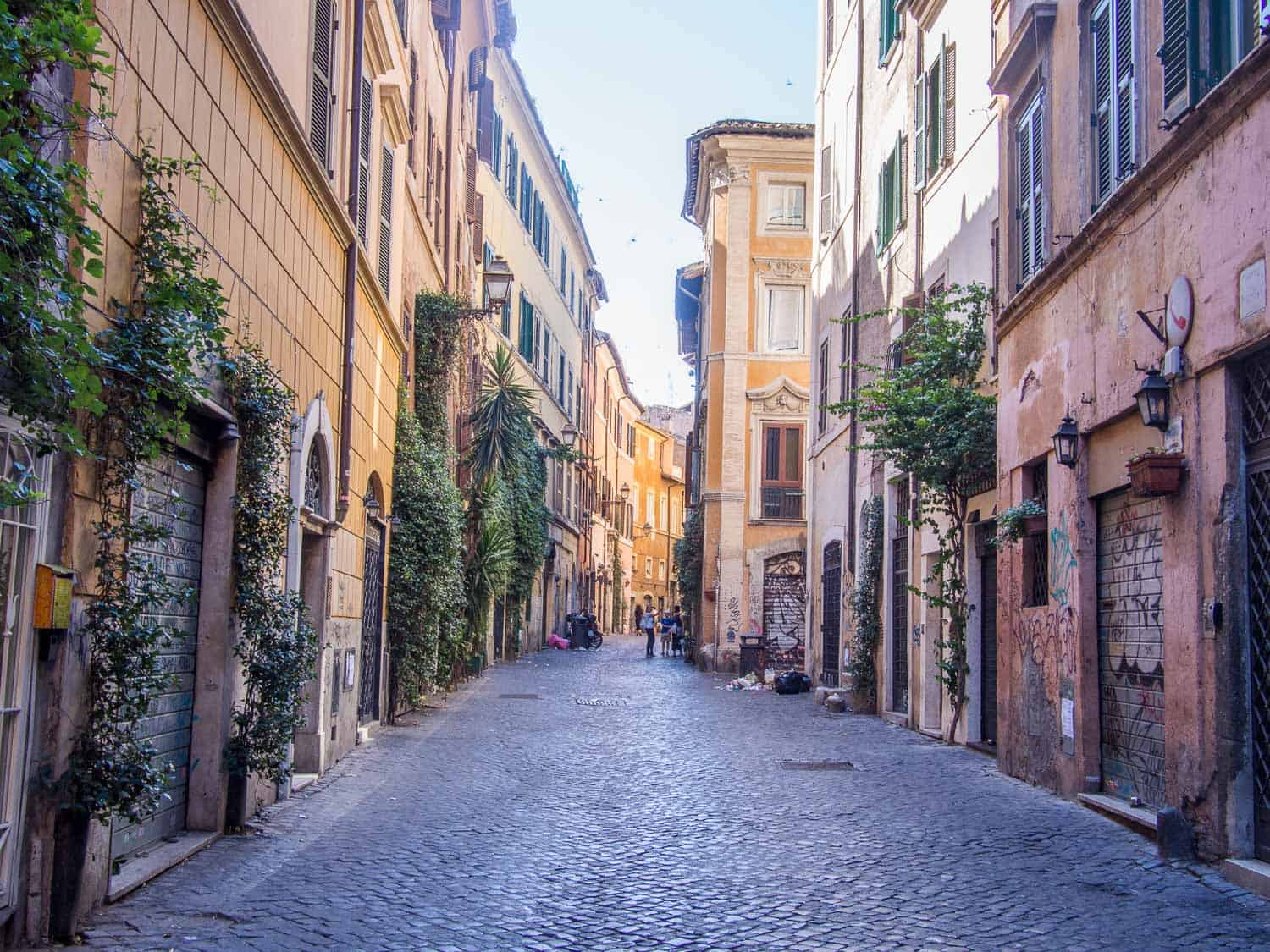 A street in Trastevere, Rome one of the best neighbourhoods to stay in the city