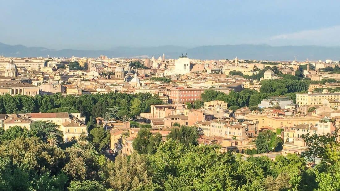 View of Rome from Janiculum Hill (Gianicolo) in Trastevere