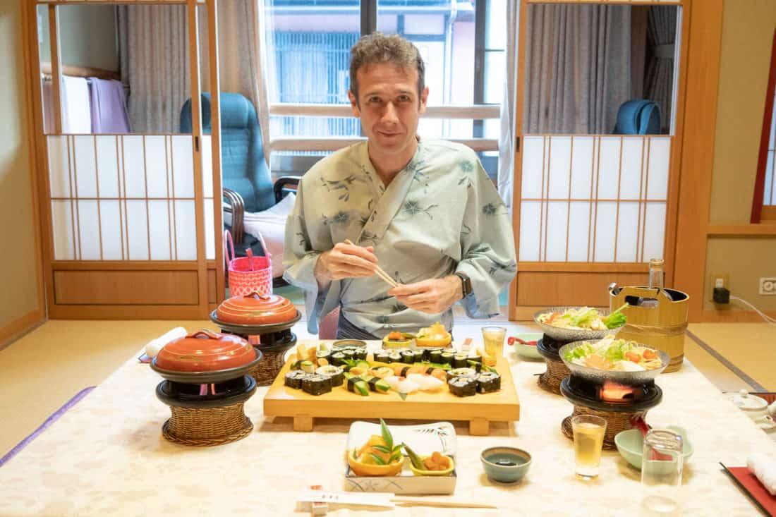 Simon wearing a kimono for our vegetarian sushi feast at Morizuya Ryokan in Kinosaki Onsen
