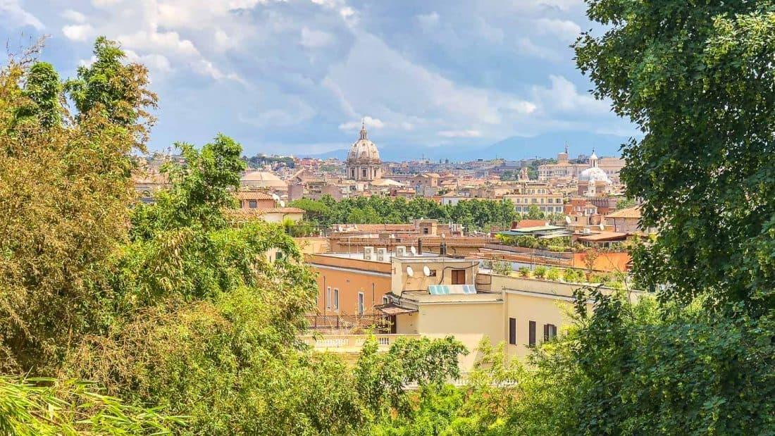 Rome view from the Orto Botanico botanical gardens in Trastevere