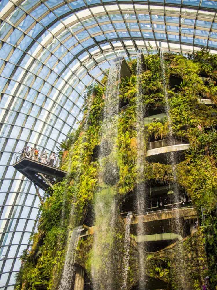 Waterfall in the Cloud Forest dome at Gardens by the Bay - one of the top Singapore attractions
