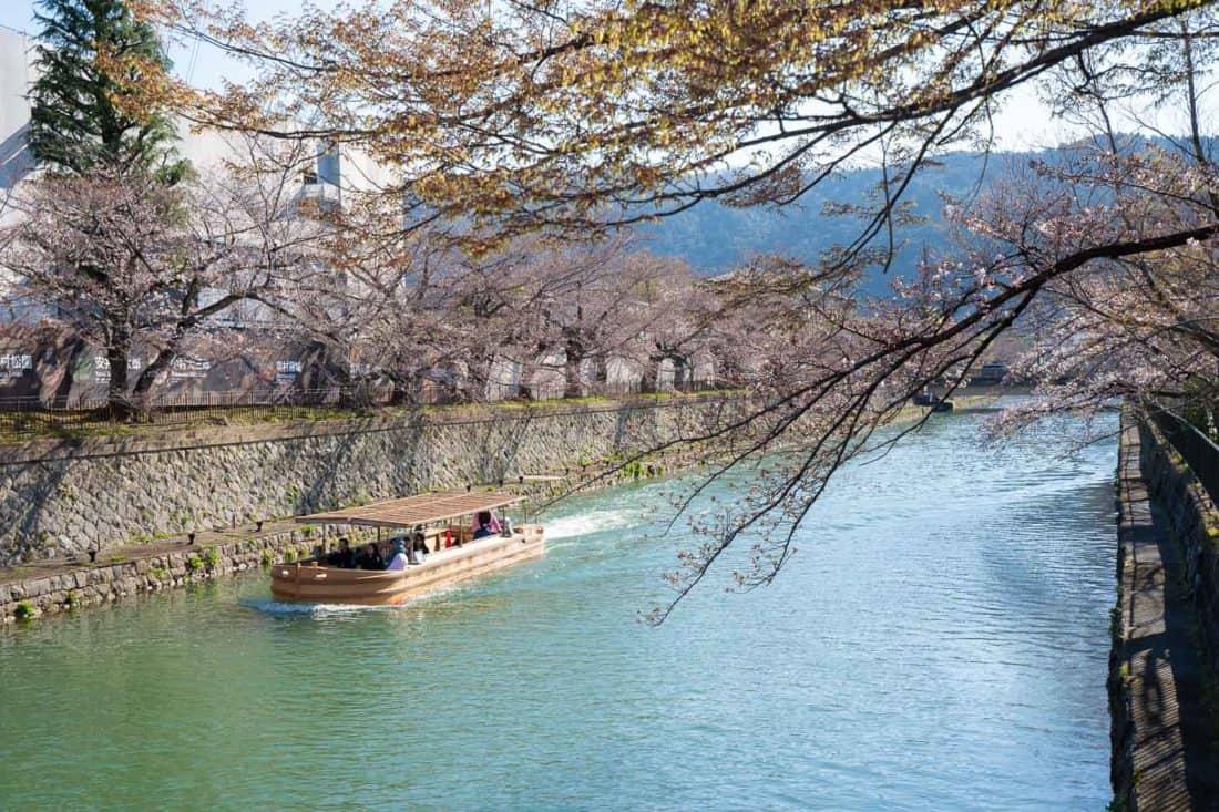 Lake Biwa Canal early in sakura season in Kyoto, Japan
