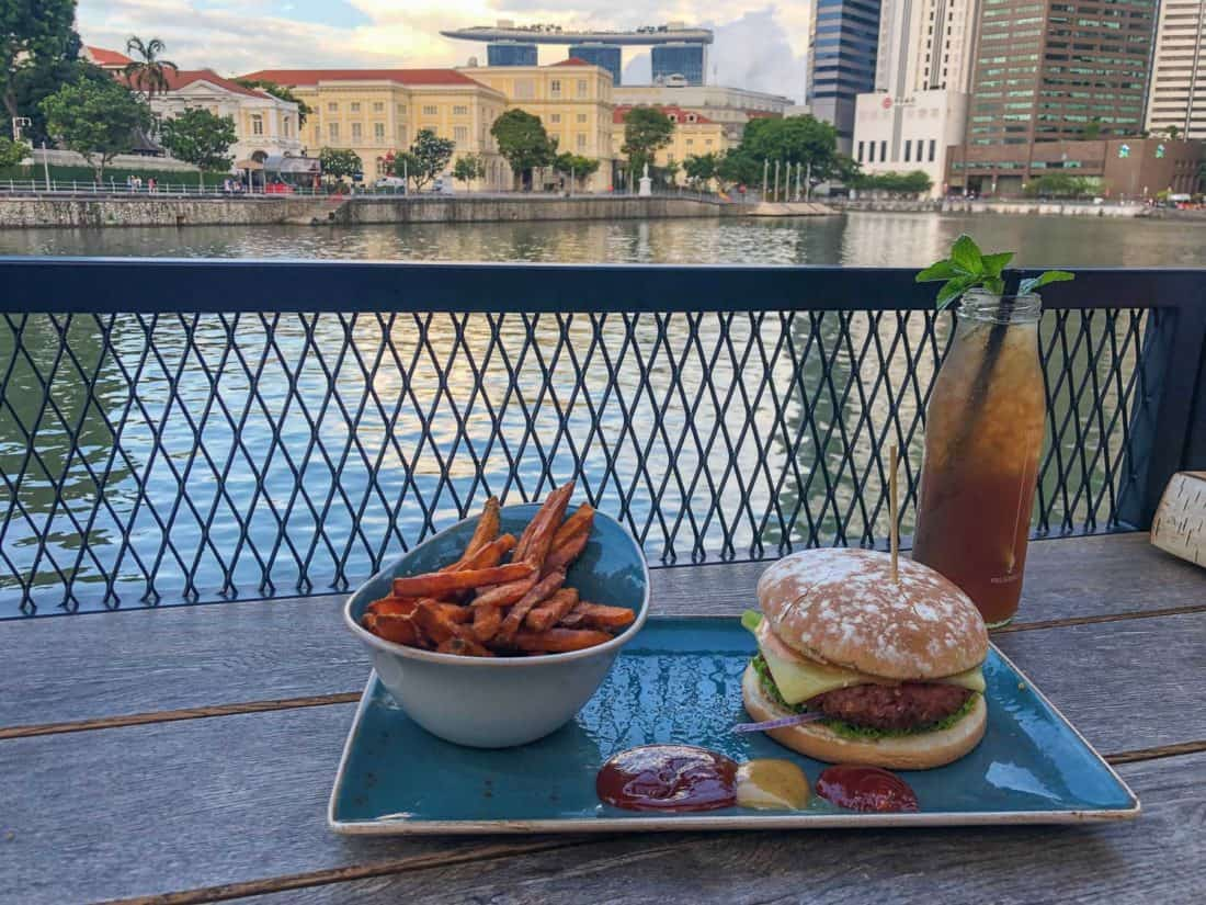 Burgers with a view at Hans im Gluck at Boat Quay, Singapore
