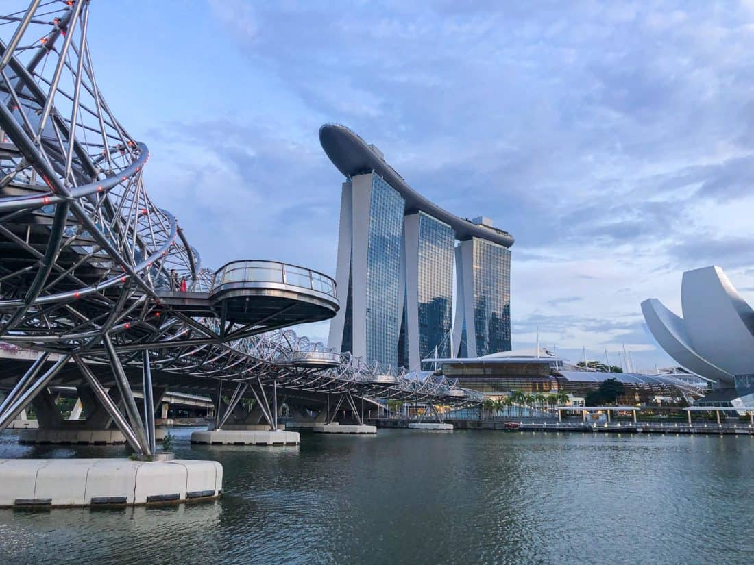 The Helix Bridge takes you to Marina Bay Sands - one of the best things to do in Singapore