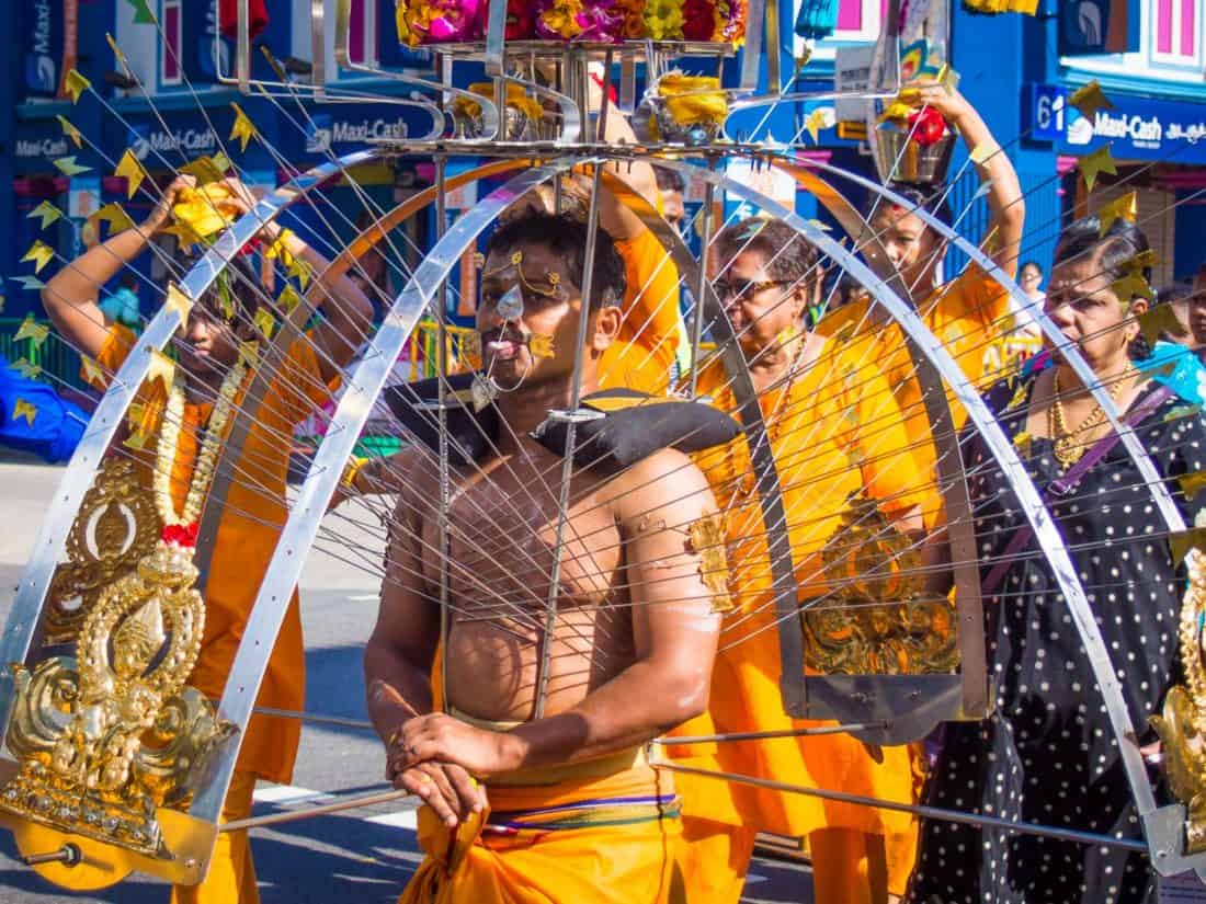 Devotee at the Thaipusam Festival in Little India, Singapore