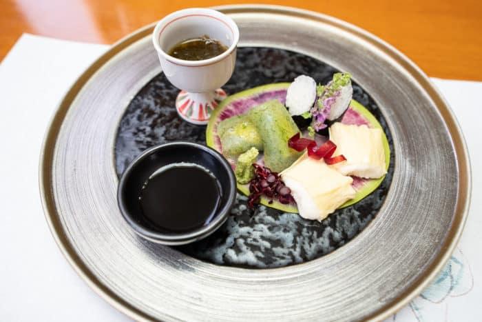 Osaka vegetarian kaiseki meal at Asai Togei - konnyaku stuffed with avocado, yuba with yam, and mountain yam