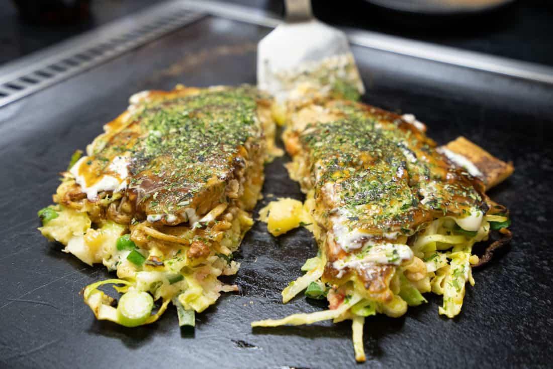 Vegetarian okonomiyaki in Osaka at Okonomiyaki Chitose