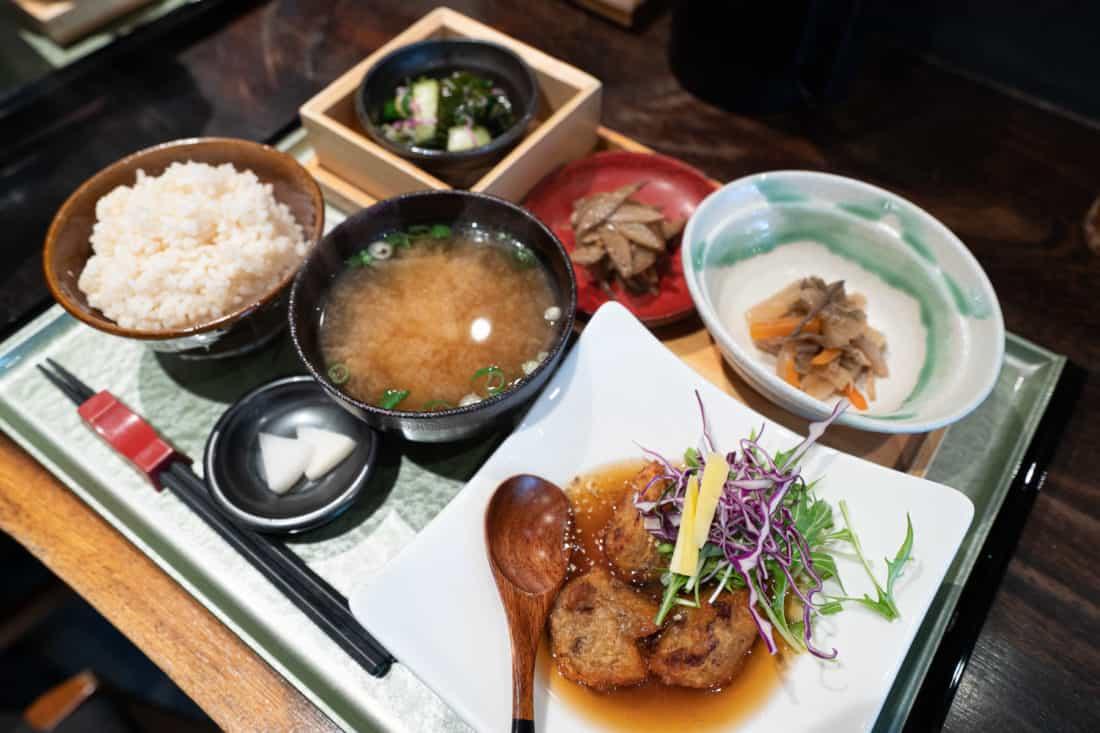 Rocca vegan set meal in Osaka