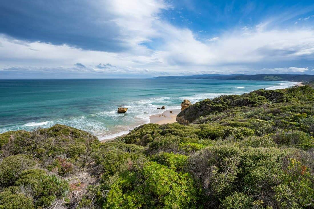 Coastal views from Split Point Lighthouse at Aireys Inlet on the Great Ocean Road