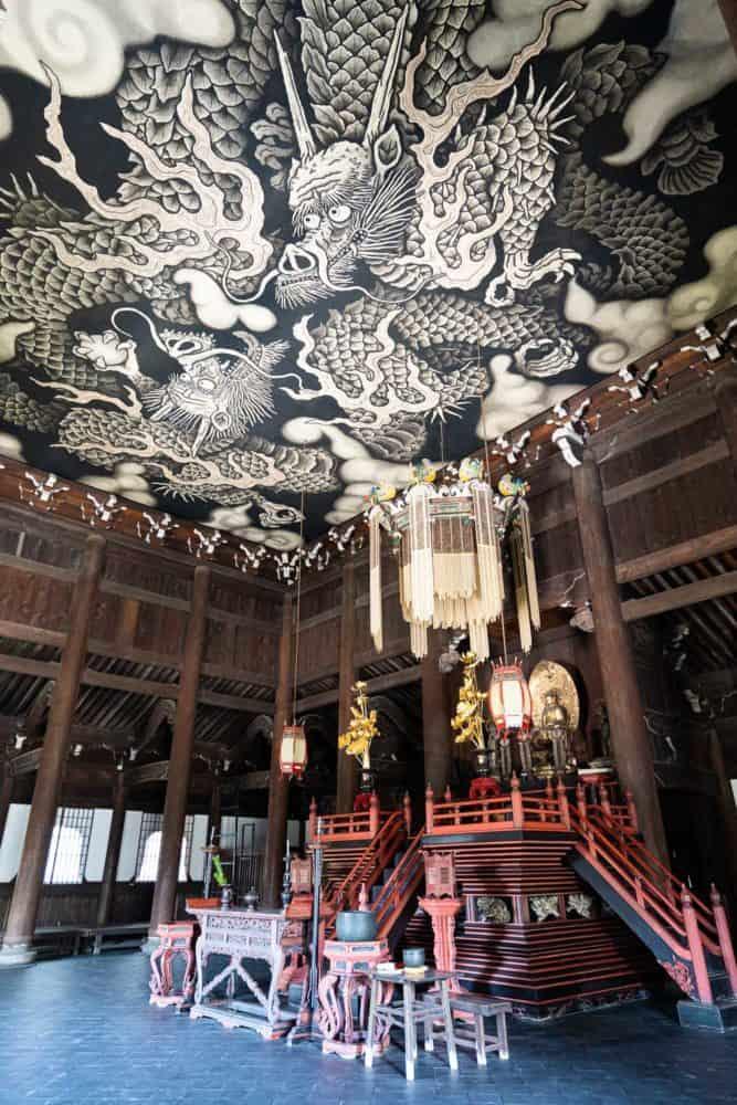 Twin dragons ceiling painting at Kennin-ji in Kyoto, Japan