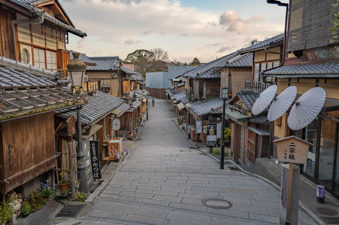 Ninenzaka early in the morning without the crowds, one of Kyoto's top attractions