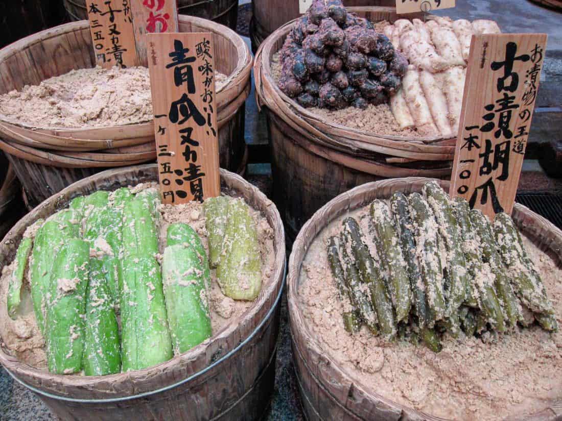 Pickles at Nishiki Market, a top Kyoto tourist spot