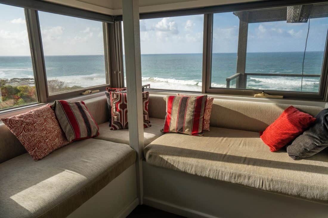 The window seat overlooking the ocean at Points South by the Sea cottages on the Great Ocean Road