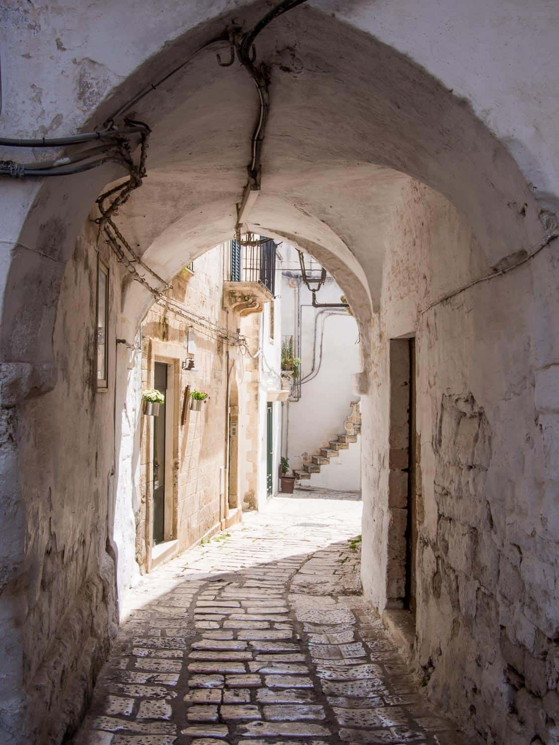 Narrow streets of Ceglie Messapica, a town in Puglia Italy