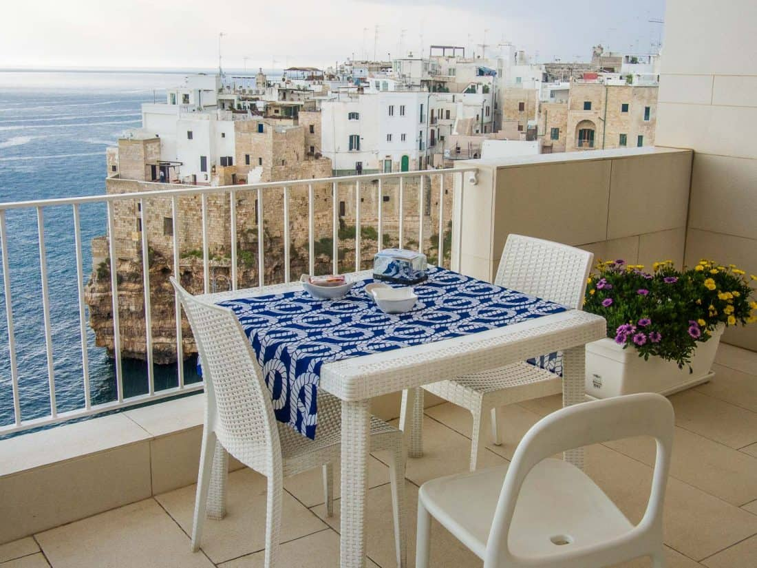 View from breakfast at Malu B&B in Polignano a Mare
