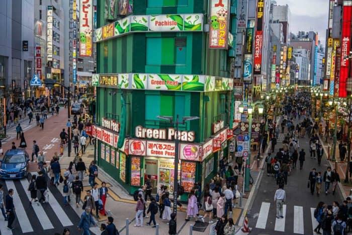 A busy junction in Shinjuku, Tokyo