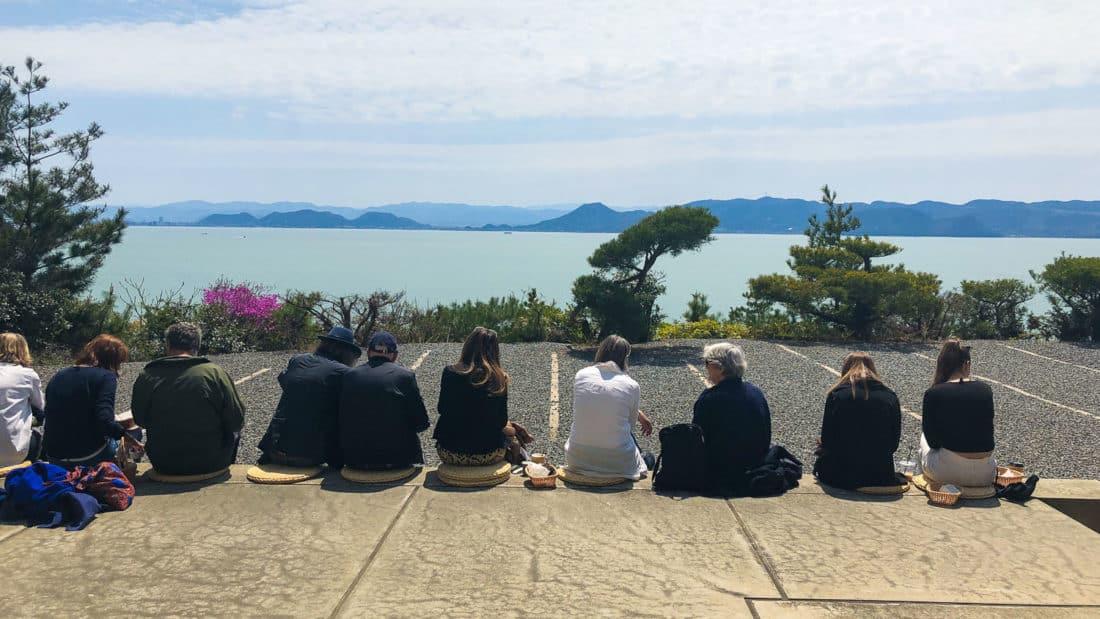 Panoramic sea view terrace of cafe at Chichu Art Museum on Naoshima Island