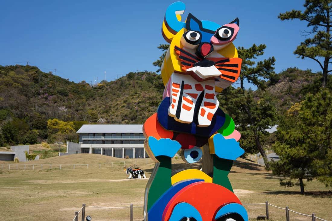Karel Appel'sFrog and Cat sculpture on Naoshima Island