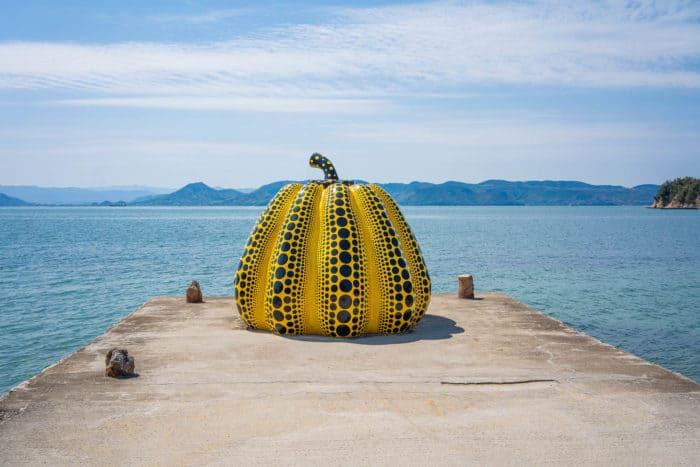 The yellow pumpkin sculpture on Naoshima Art Island in Japan