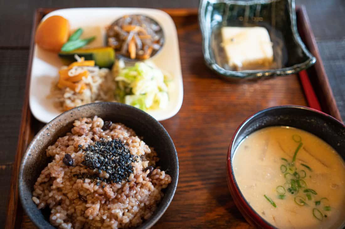 Vegetarian lunch set at Aisunao in Honmura village on Naoshima Island, Japan