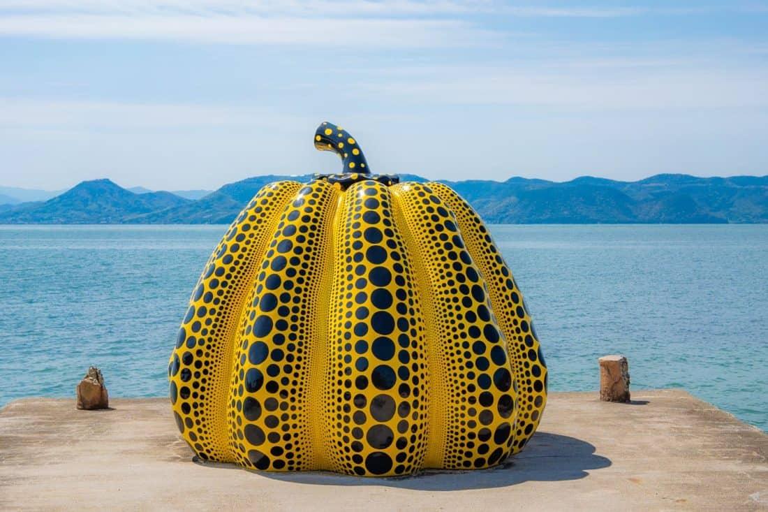 The Naoshima pumpkin or Yellow Pumpkin sculpture by Yayoi Kusama on Naoshima Art Island in Japan