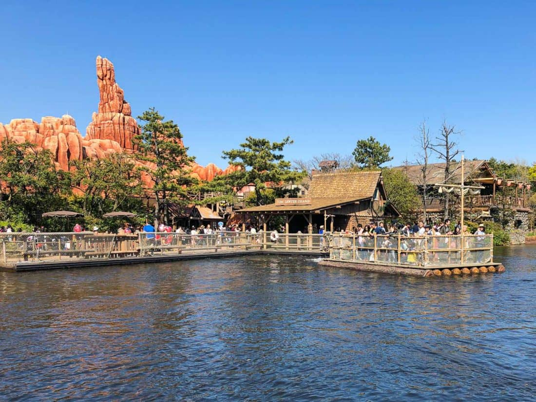 The raft to Tom Sawyer Island at Tokyo Disneyland