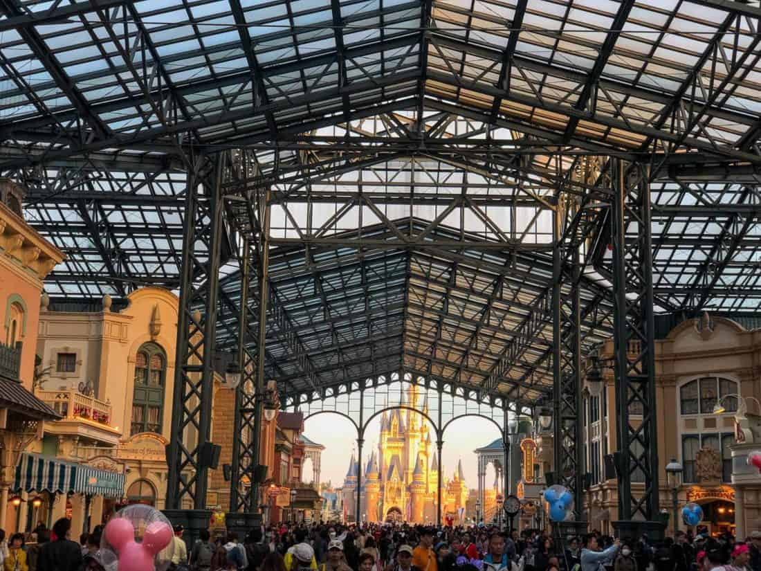 Crowds on Main Street at Tokyo Disneyland