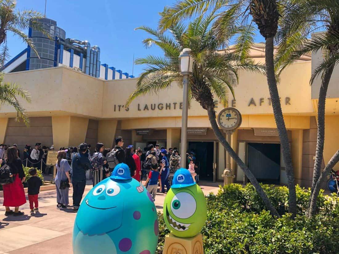 Easter eggs outside Monsters, Inc. Ride & Go Seek - a ride at Tokyo Disneyland in Japan