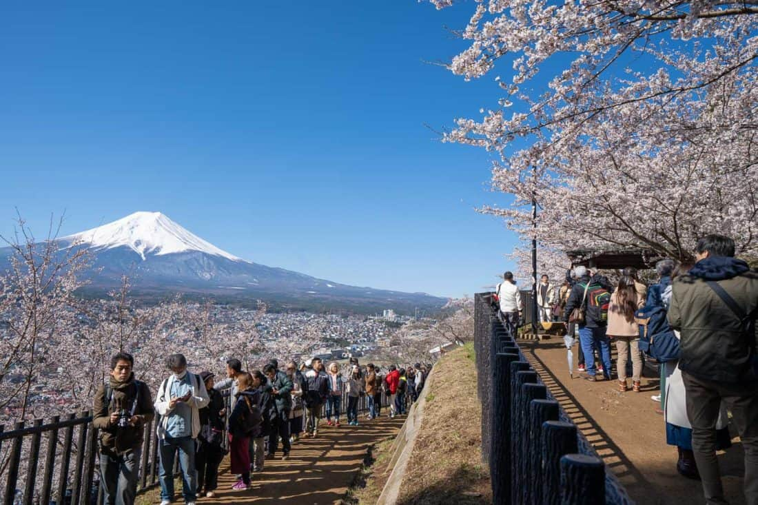The queue to photograph Mount Fuji at Chureito Pagoda