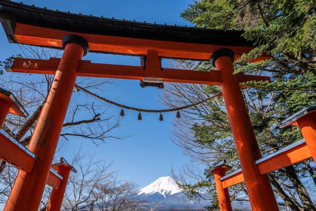 Mount Fuji and torii gate at Arakurayama Sengen Park in Fuji Five Lakes