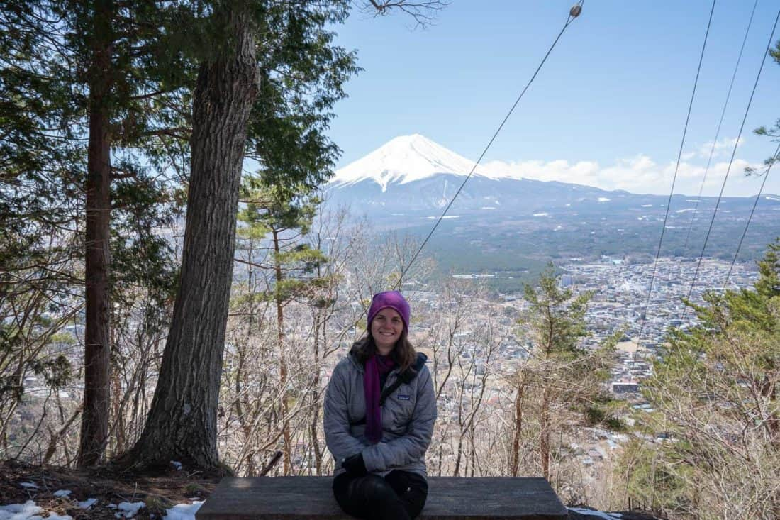 Mount Fuji view on the forest path down from the Kawaguchiko Ropeway