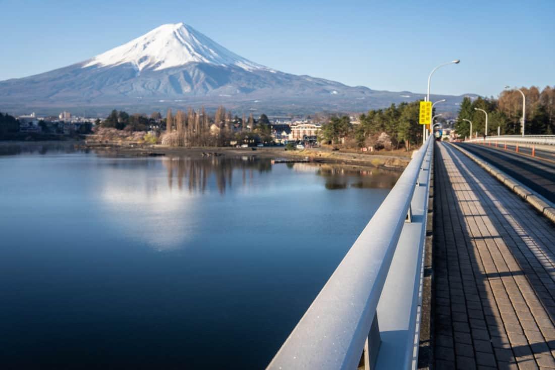 Mount Fuji from the bridge over Lake Kawaguchiko