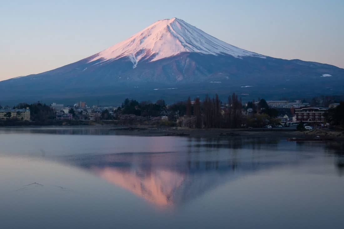 Mount Fuji at Lake Kawaguchiko at sunrise from the north shore