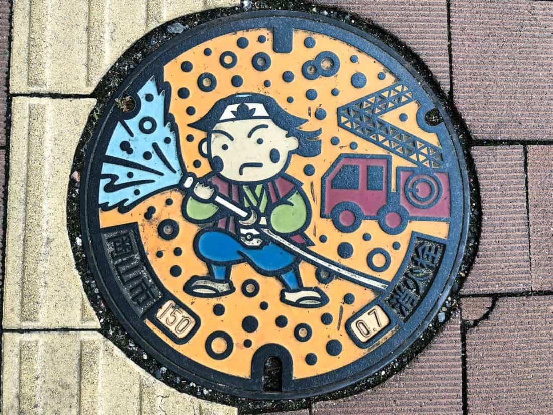 Momotaro manhole cover in Okayama