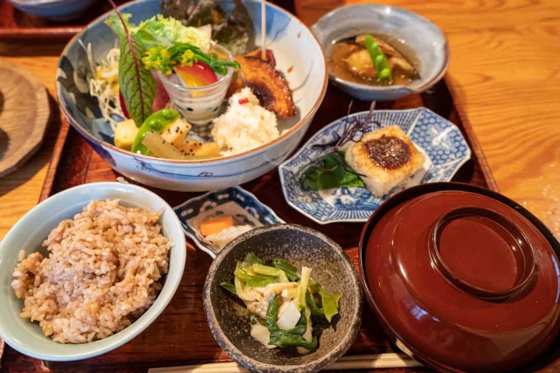 Vegetarian set meal at Yasai-Shokudo Koyama in Okayama Japan