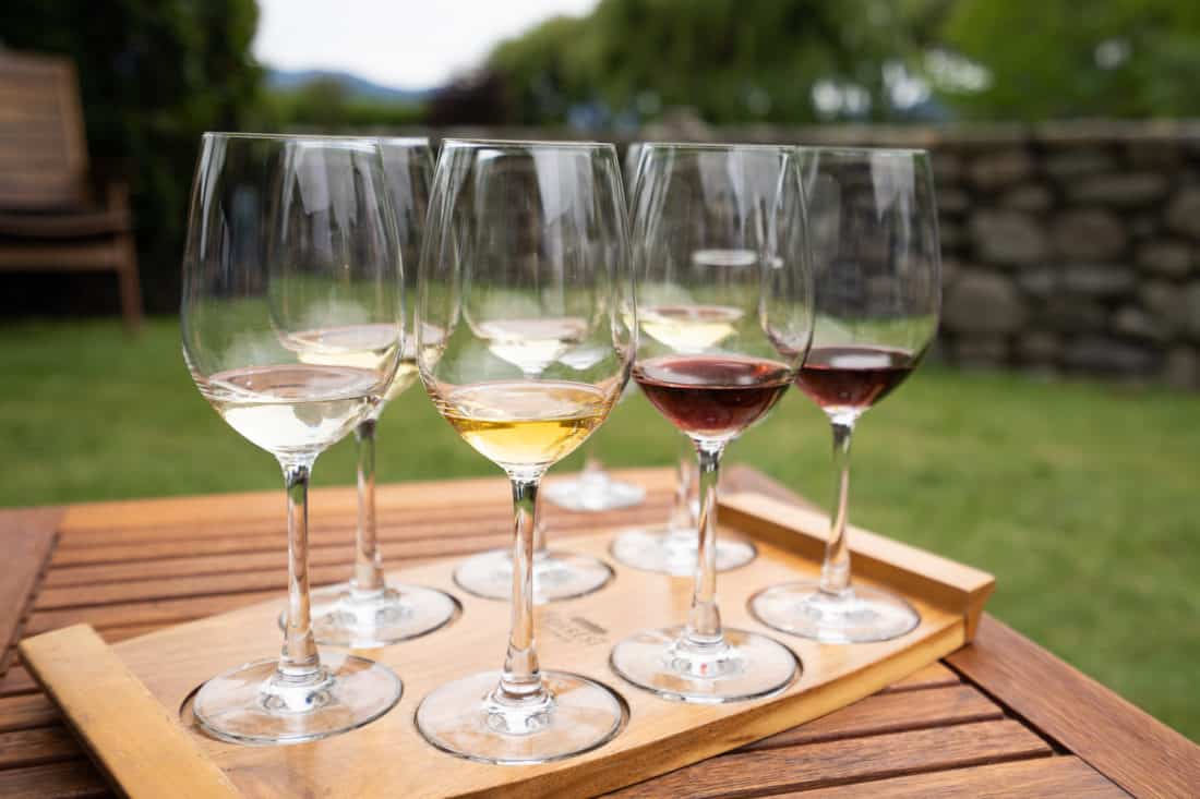 Seven glasses in the wine tasting at Forrest winery on the Marlborough Wine Trail