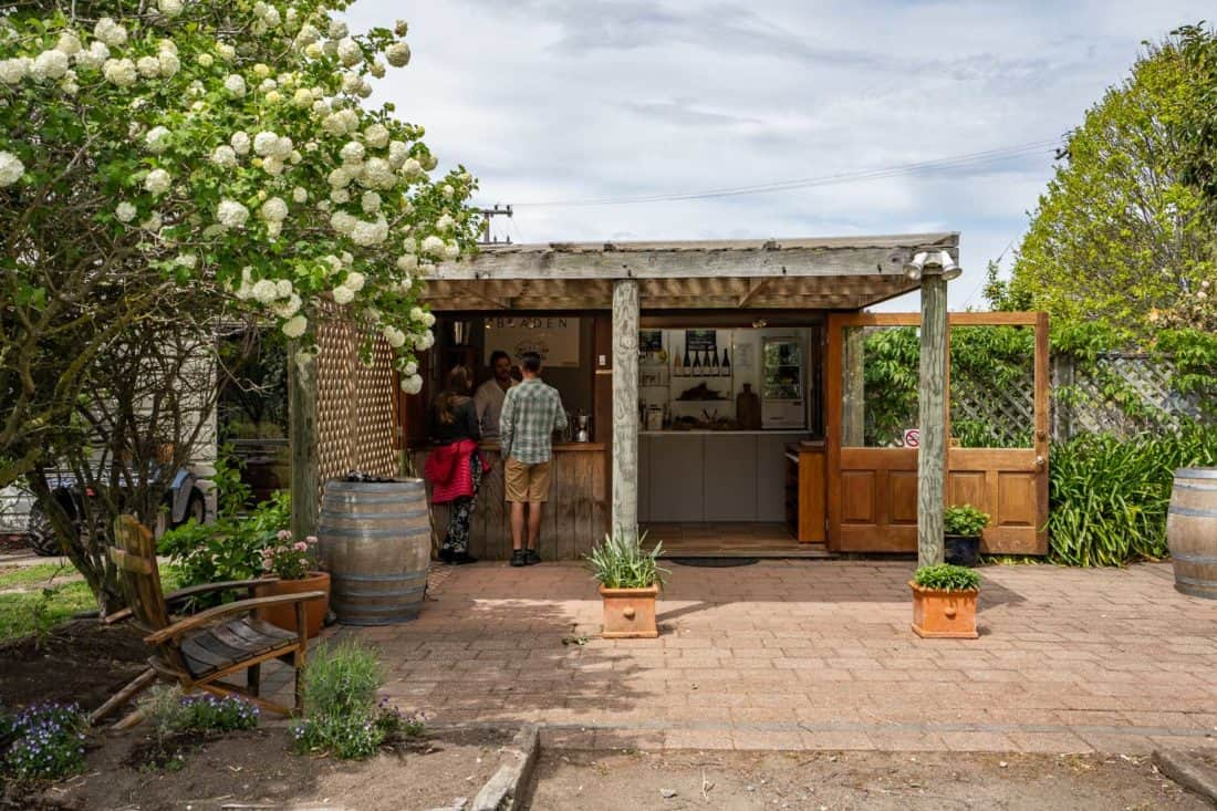The outdoor tasting room at Bladen winery in Marlborough, New Zealand