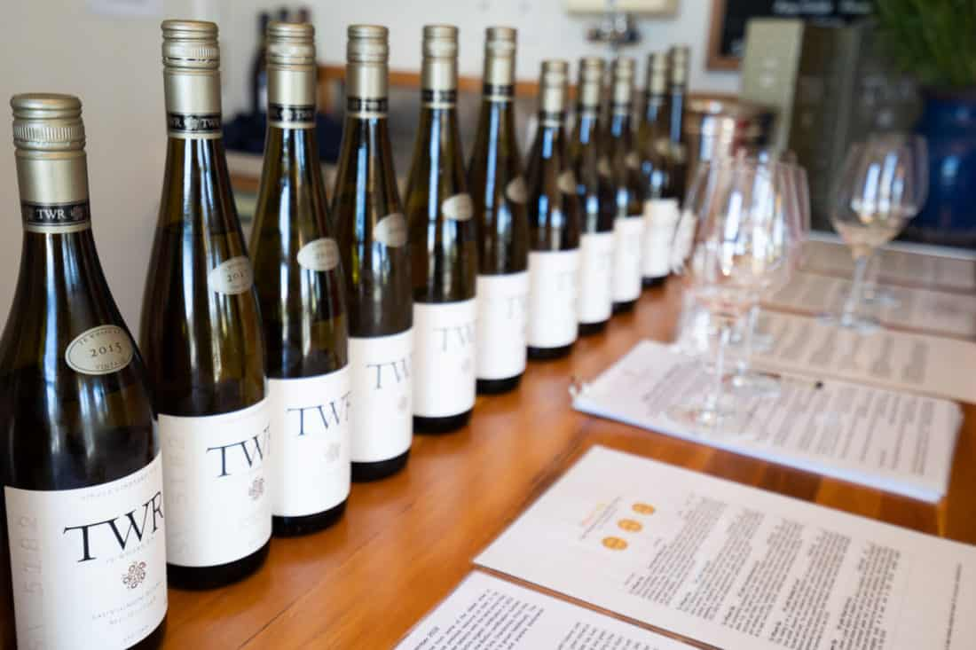 Wines available for tasting at Te Whare Ra in Marlborough NZ