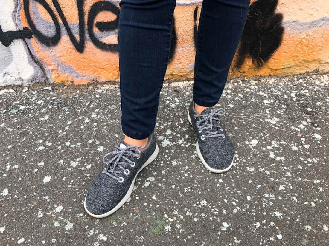 Allbirds wool runners in grey worn without socks