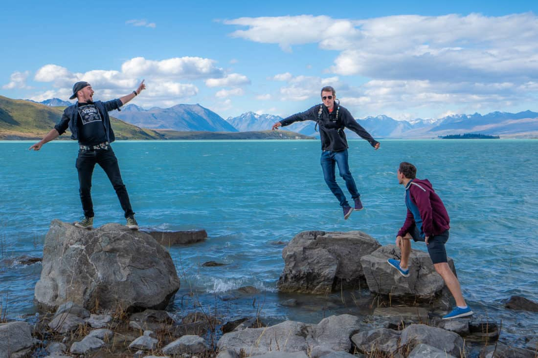 Jumping wearing Allbirds Tree Runners at Lake Tekapo, New Zealand)