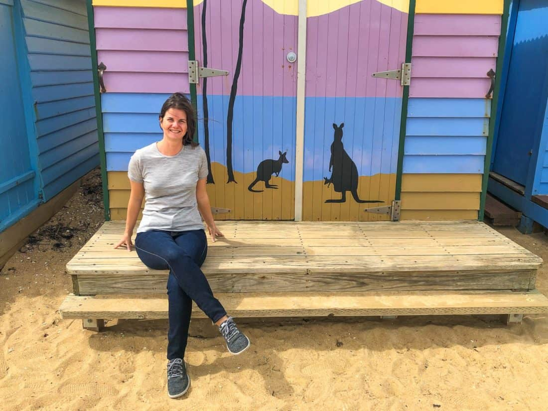 Erin wearing Allbirds Wool Runners at the Brighton Bathing Boxes in Melbourne