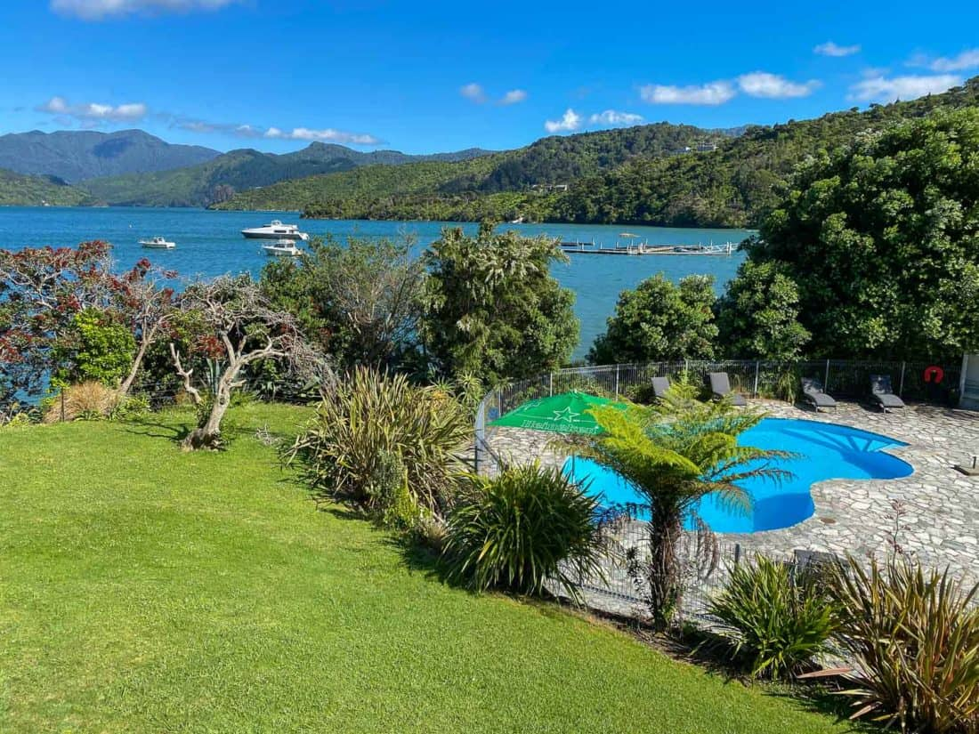 Pool at Portage Hotel on the Queen Charlotte Track, New Zealand