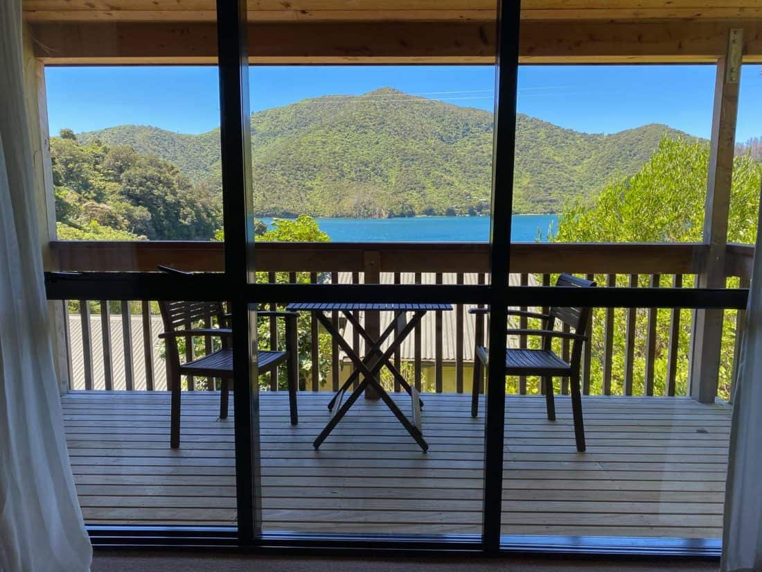 The sea view from the balcony of the Kakariki Chalet at Lochmara Lodge in the Marlbrough Sounds