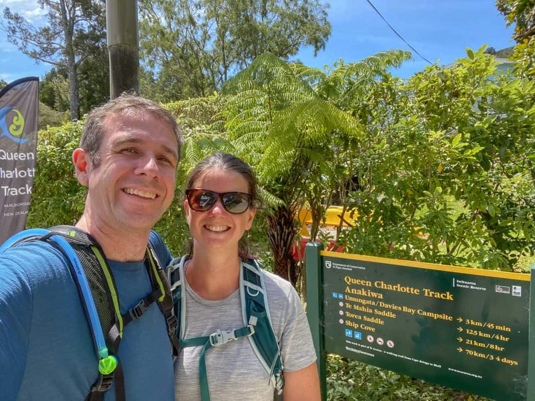Simon and Erin at the end of the Queen Charlotte Track in Anakiwa