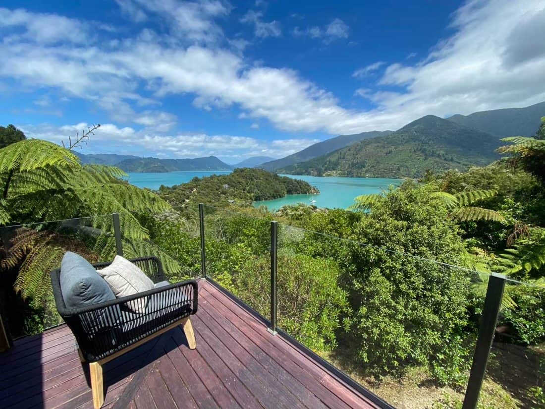 View from the terrace of St Omer's Hideout in the Marlborough Sounds