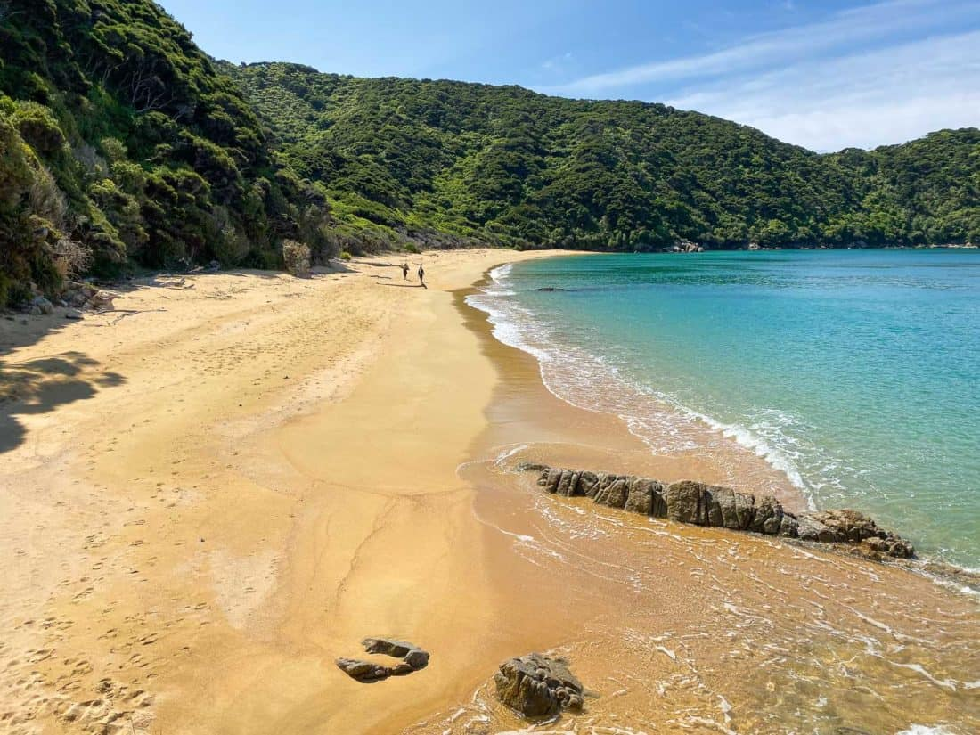 The beach at Mutton Cove, one of the best places to visit on a day trip to Abel Tasman National Park