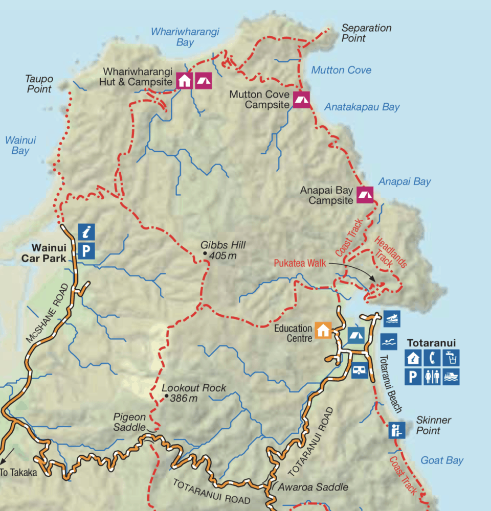 Map of the north section of Abel Tasman National Park around Totaranui